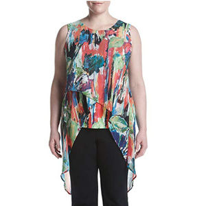 NEW Rainbow Color Plus Size Sleeveless Layered Top